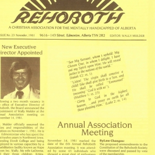 Newsletter 1981 – hiring of new Executive Director
